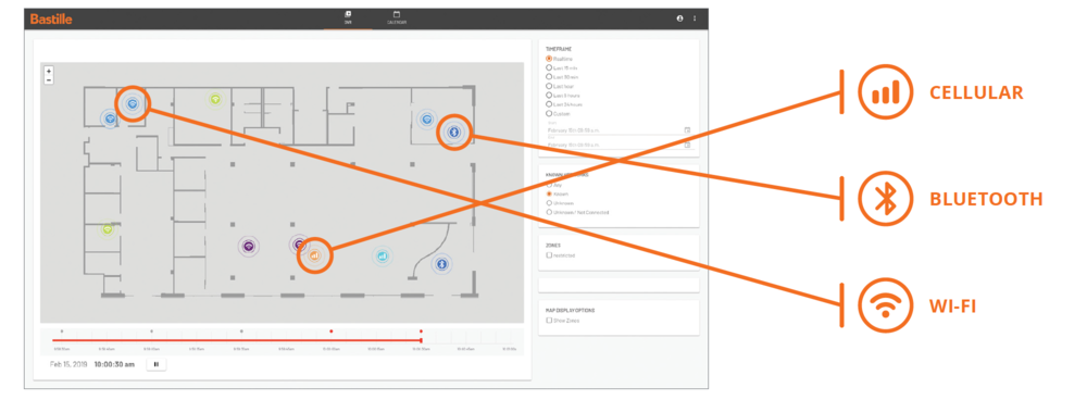 Bastille UI shows the office floor plan with location of Cellular, Wi-Fi and Bluetooth devices