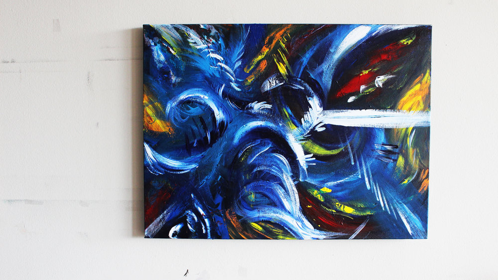 ICE STORM original acrylic & ink on painting size: 24 x 18 inches Canvas: is mounted on a wood stretcher frame