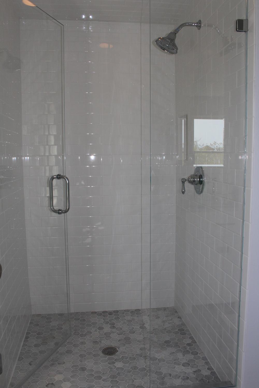 New tiled shower.