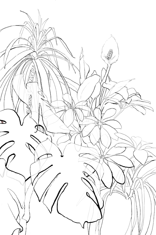 Here I've added a partially opaque layer to the leaves.