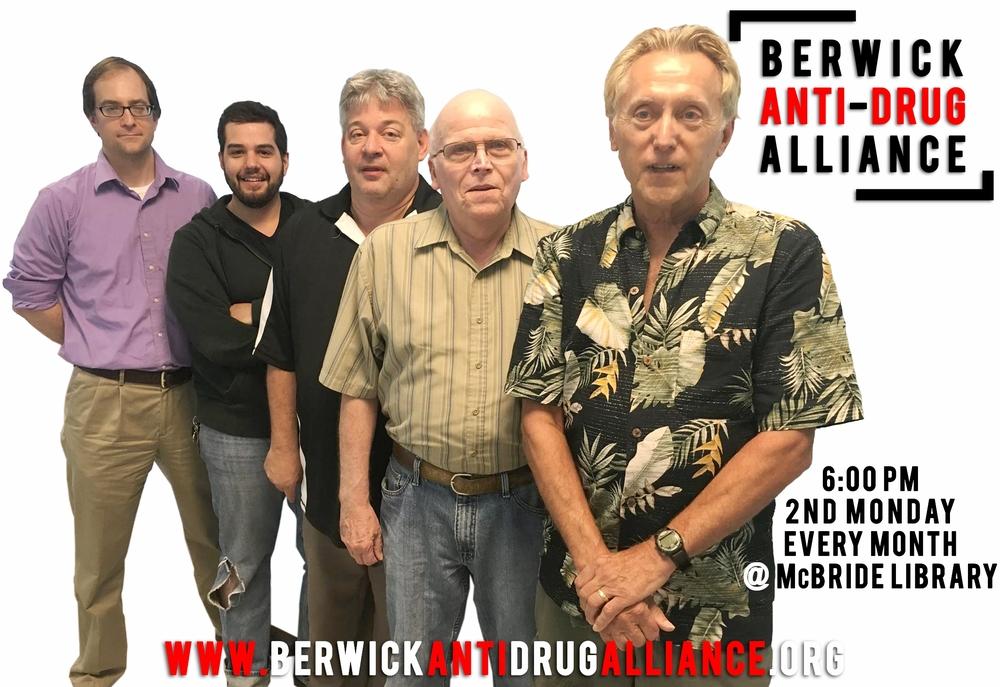 Berwick Anti-Drug Alliance Members [L-R]:Eric Bartel, Dave Reilly, Rev. John Baumgartner, Rev. Aaron Hastie and Maxim Furek.
