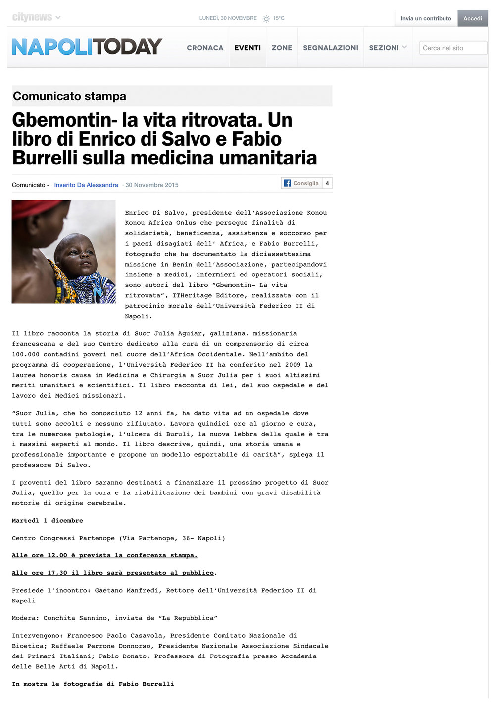 Gbemontin - Back again to life   http://www.napolitoday.it/eventi/gbemontin-la-vita-ritrovata.html
