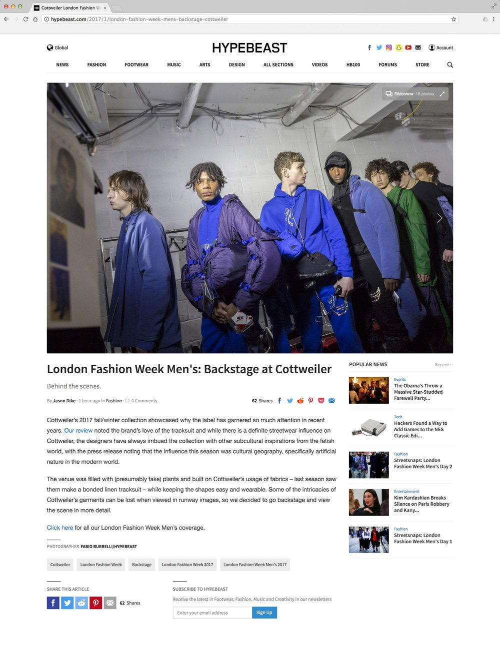 London Fashion Week Men's: Backstage at Cottweiler Fall-Winter 2017   http://hypebeast.com/2017/1/london-fashion-week-mens-backstage-cottweiler