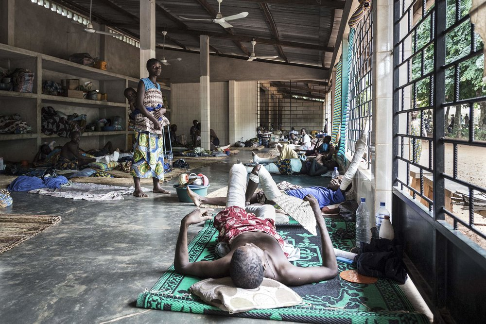 The hangar for the pilgrims. At Gbemontin Centre the number of patients can exceed 250 beds and therefore recovering or non-urgent patients are temporary replaced wherever possible.
