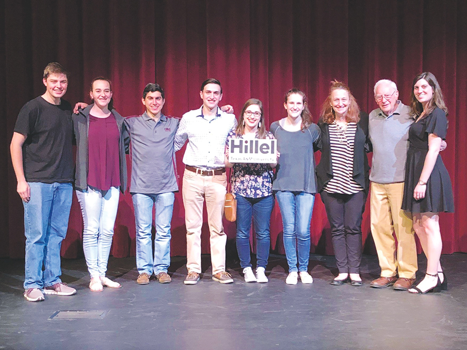 Evan Diebner, Rachel Chilton, Gabe Noble, Aaron Blasband, Hope Beitchman, Hannah Prutchi, Risa Bierman, Bert Romberg, Danielle Freedman. Courtesy of Hillel at Texas A&M