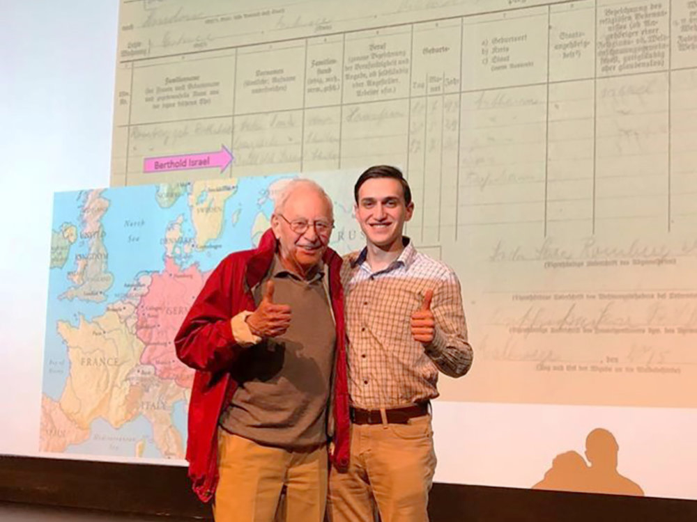 Holocaust survivor Bert Romberg and Hillel at Texas A&M student board member Aaron Blasband connected at the event. Courtesy of Hillel at Texas A&M