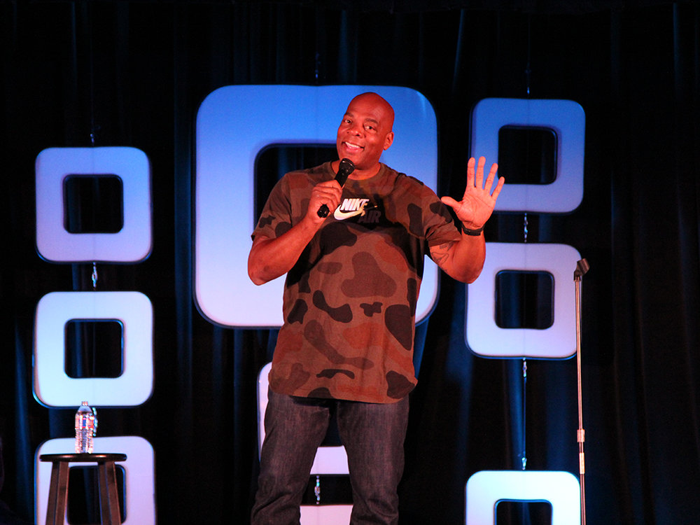 Comedian Alonzo Bodden entertains the crowd at Moontower at the J on April 19. Credit: Wendy Goodman