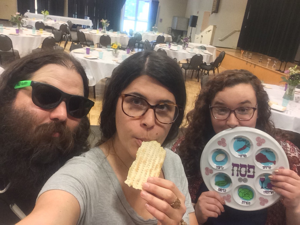 Shalom Austin Staff, Blake Chaifetz, Sarah Weisfeld and Carly Karten setting up for YAD Passover Seder. Credit: Sarah Weisfeld