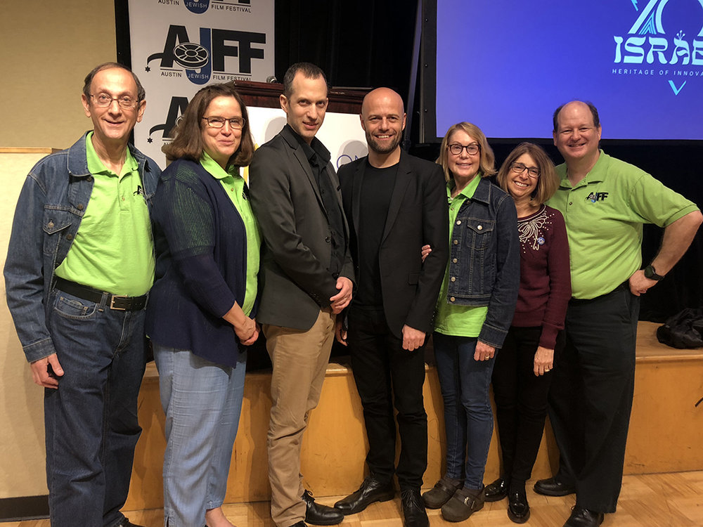 L to R: Joe Winer of AJFF, Cynthia Winer of AJFF, Consul Omer Chechek-Katz, Filmmaker Yaniv Mozer, Cindy Pinto of AJFF, Shalom Austin Chief Programming Officer Shelly Prant, David Finkel of AJFF. Credit: Wendy R. Corn.