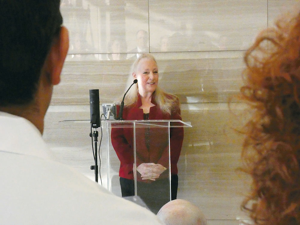 Diana Fite, M.D., addresses the crowd at the Texas Medical Association Building naming ceremony. Credit: Steve Levine