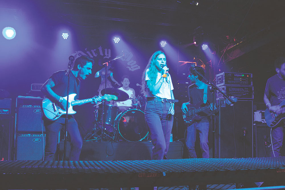 """Israeli rock band, Bones Garage (pictured above at Dirty Dog Bar March 13) who played the Oy Vey! music showcase March 12 describes their SXSW experience, """"It's been great! The whole city breathes music and becomes like a huge venue."""" Credit: Wendy Goodman"""