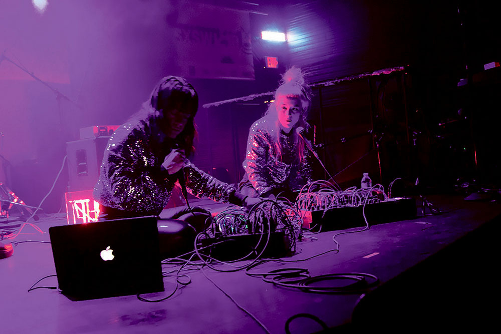 While performing seated on the floor of the stage, Sivan Levy and Yael Enosh of the Tel Aviv duo, There, transcend the audience with their dreamy synth-pop sound at the Oy Vey! showcase on March 12. Credit: Wendy Goodman