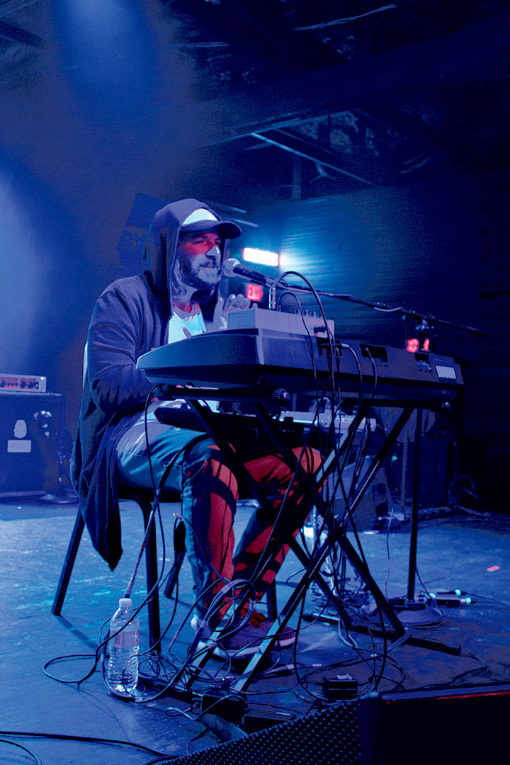"""ORI performs at the Oy Vey! showcase. He describes the main topics of his song lyrics, """"I write from a place of self-healing, my lyrics normally express my inner emotions."""" Credit: Wendy Goodman"""