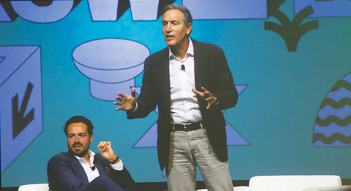 Dylan Byers of NBC News and MSNBC (left) moderates a SXSW featured session with Howard Schultz, former chairman and CEO of Starbucks (right). Credit: Wendy Goodman