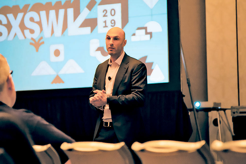 """Avi Jorisch, author and entrepreneur, addresses the crowd at the SXSW Interactive session """"How Innovation in Israel Makes the World a Better Place."""" Credit: Wendy Goodman"""