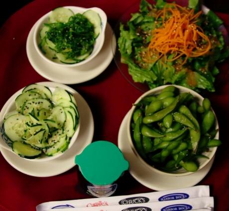 Cucumber Salad, Seaweed Salad, Ginger Salad, Edamame
