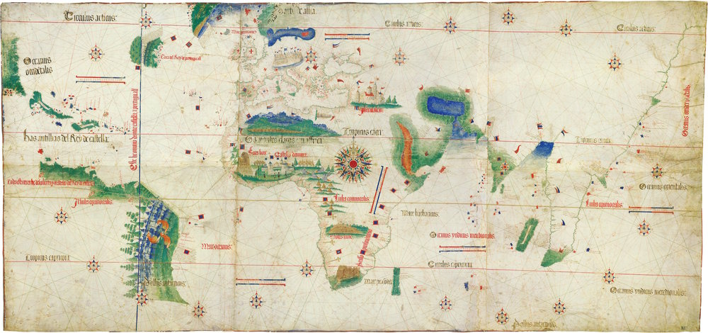 Cantino planisphere, 1502. Earliest surviving chart showing the explorations of Columbus to Central America, Corte-Real to Newfoundland, Gama to India and Cabral to Brazil.