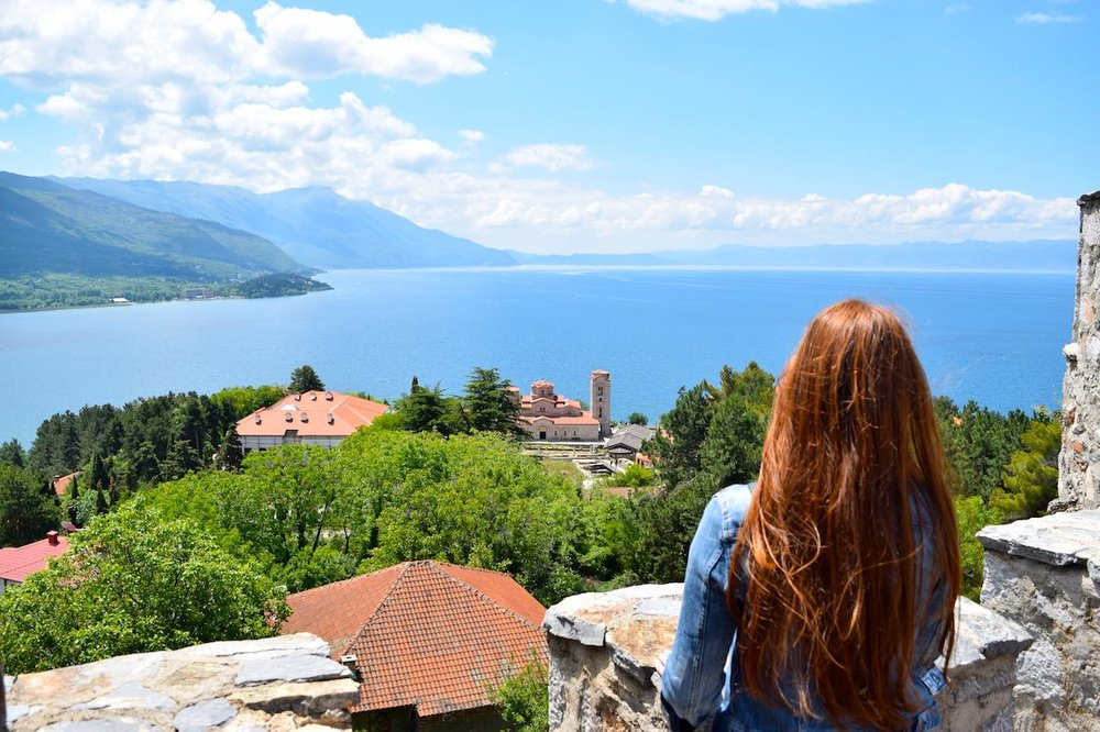 looking down on lake ohrid from the town's castle
