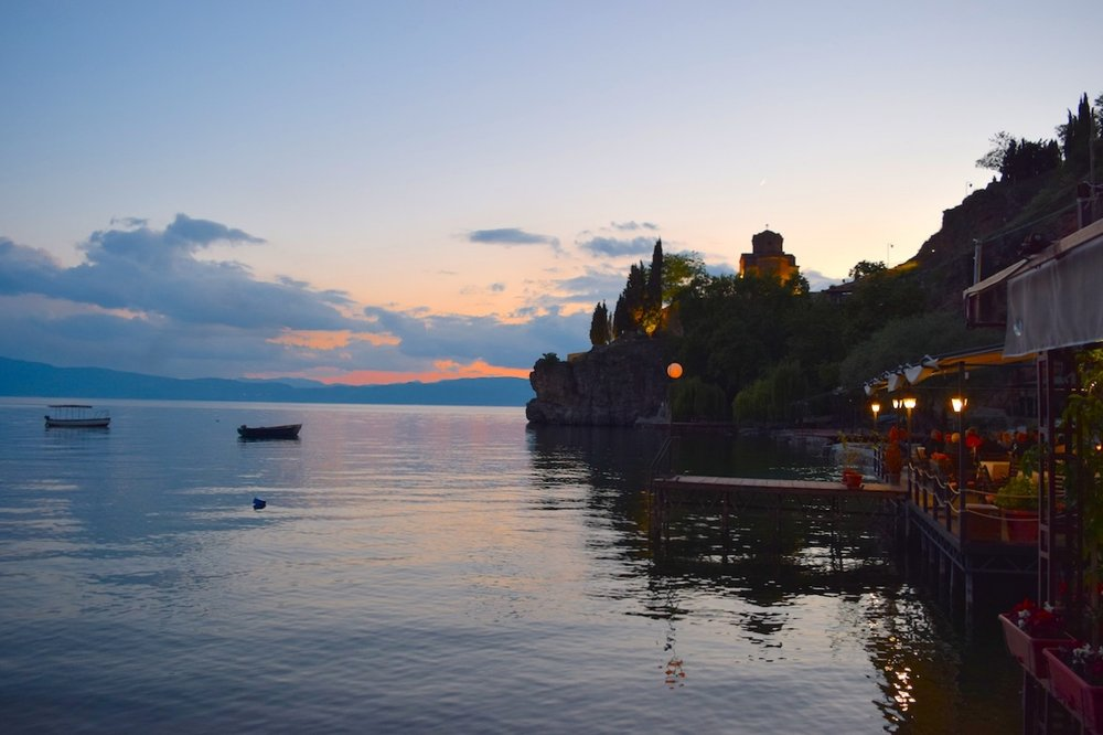 sunset in ohrid, looking up at the Church of St. John at Kaneo