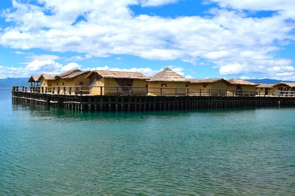 the bay of bones, a reconstructed stilted village from the Bronze Age on lake ohrid
