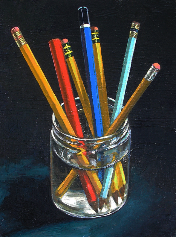 "PENCILS (2011) oil on plywood, 8.75"" x 11.75"" Private collection"