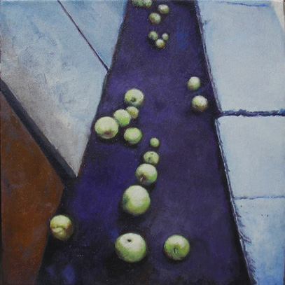 "CROP A (2005) acrylic on canvas, 12"" x 12"" Private collection"