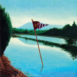 "MAYOR OF THE TENNESSEE RIVER (2003) acrylic on canvas, 12"" x 12"" $600."