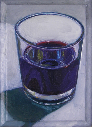 "MAY 8: WINE (2010) oil on wood laminate, 4"" x 6"" Private collection"