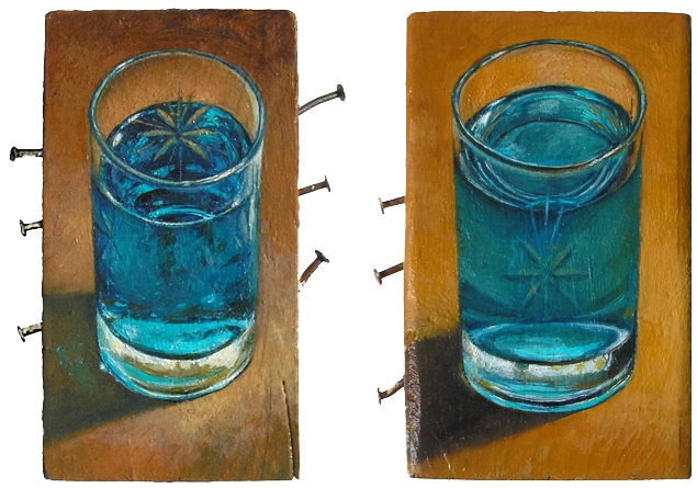"left: AUGUST 10: WINDOW CLEANER (2010) right: FEBRUARY 11: SPORTS DRINK (2011) both oil on wood with nails, approx. 3.5"" x 6"" $250. each"