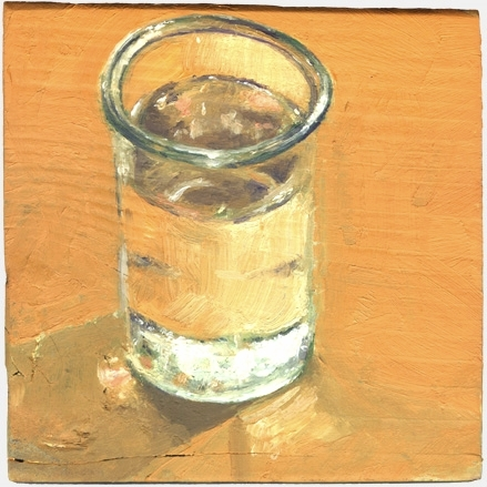"OCTOBER 12: WATER (2008) oil on wood, approx 6"" x 6"" Private collection"