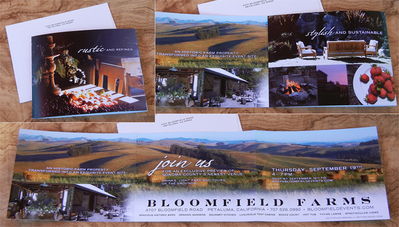 BLOOMFIELD FARMS: event invitation, A tri-fold invitation for the debut of a rustic, sustainable, and elegant event venue. Created concept, design and copy.