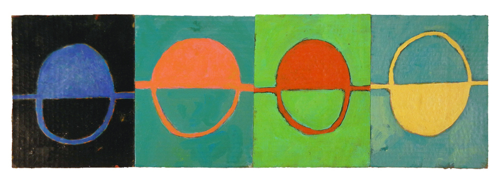 "SPRING DRAIN ROTATION (2016) acrylic on cardboard on wood 8"" x 24"" €250."