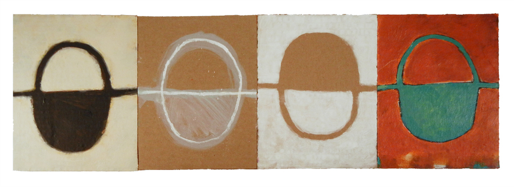 "DHARMA SIDECAR (2016) acrylic on cardboard on wood 8"" x 24"" €250."