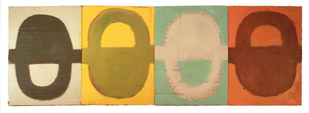 "FINE MATTRESS TREATY (2016) oil on cardboard on wood 8"" x 24""  Private coll"