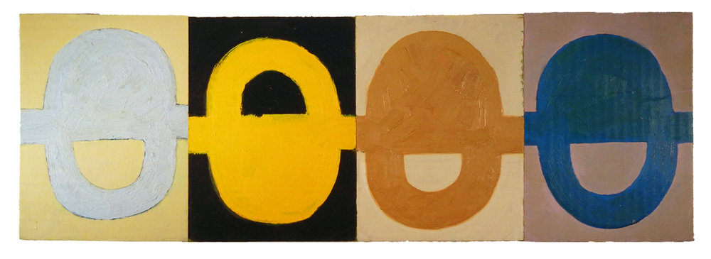 "TOP SEASON FLY-BY (2016) oil on cardboard on wood 8"" x 24"" €250."