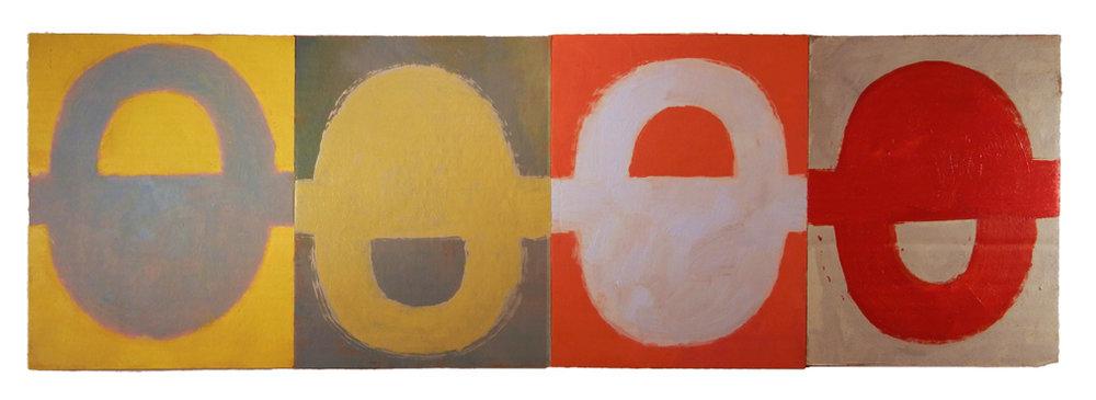 "LOST SILO ARCANA (2016) oil on cardboard on wood 8"" x 24"" €300"
