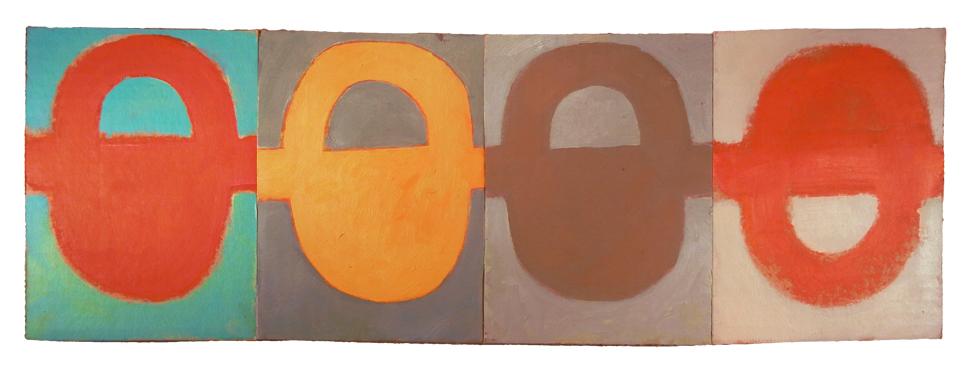 "SOMETHING RATTAN VOWEL (2016) oil on cardboard on wood 8"" x 24"" €300"