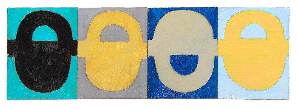"MILKY NOON SIGNAL (2017) oil on cardboard on wood 8"" x 24"" €300."