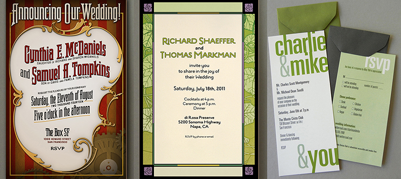 Assorted invitation styles