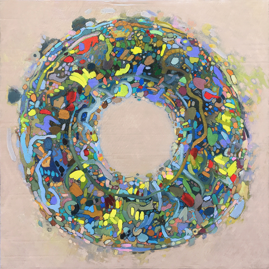 """ROUND THING (2019), oil on cardboard on wood, 28"""" x 28"""". €500"""