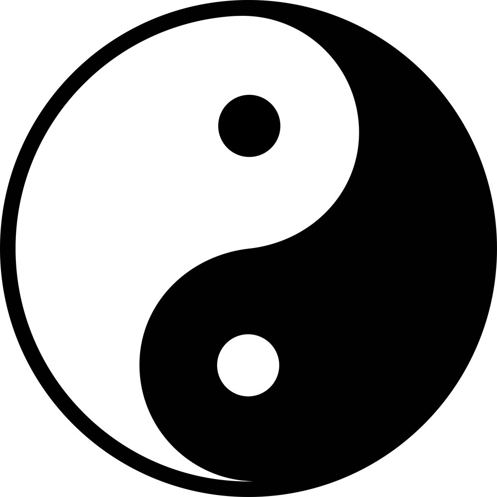 Taijitu symbol - light (yang, phase 1), dark (yin, phase 2), the circle surrounding the two parts and the line dividing them (interplay of yin and yang, phase 3)