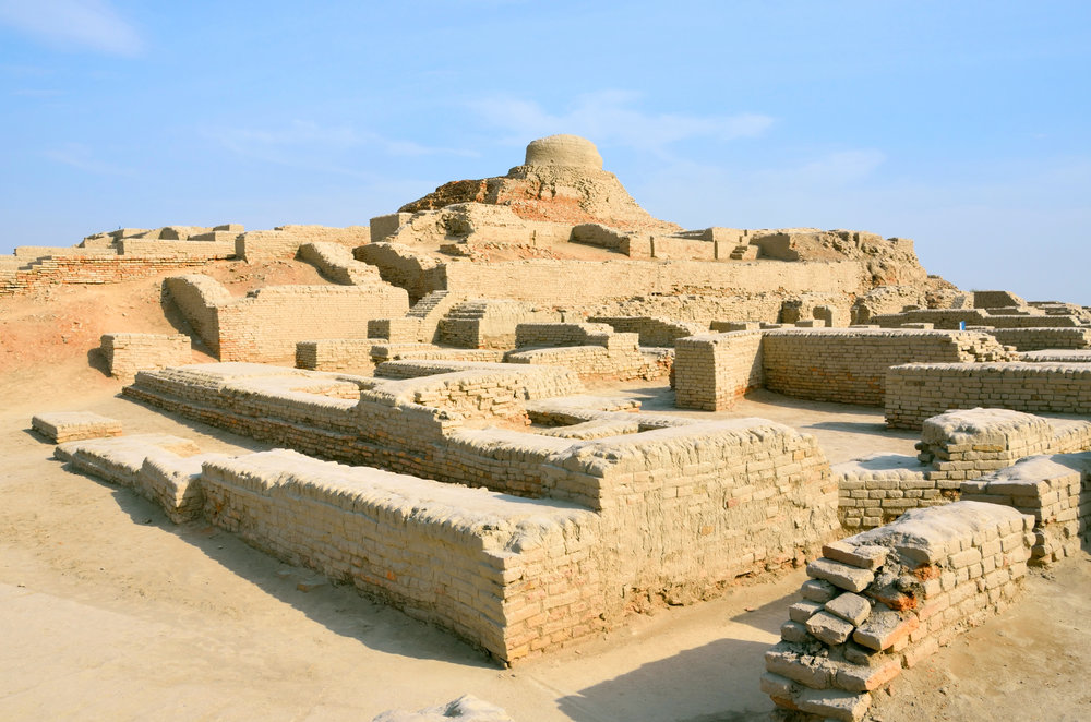 Mohenjo-daro in Sindh province, Pakistan - remnants of the ancient Indus Valley Civilization which flourished during the Bronze Age (3300 - 1300 BCE)