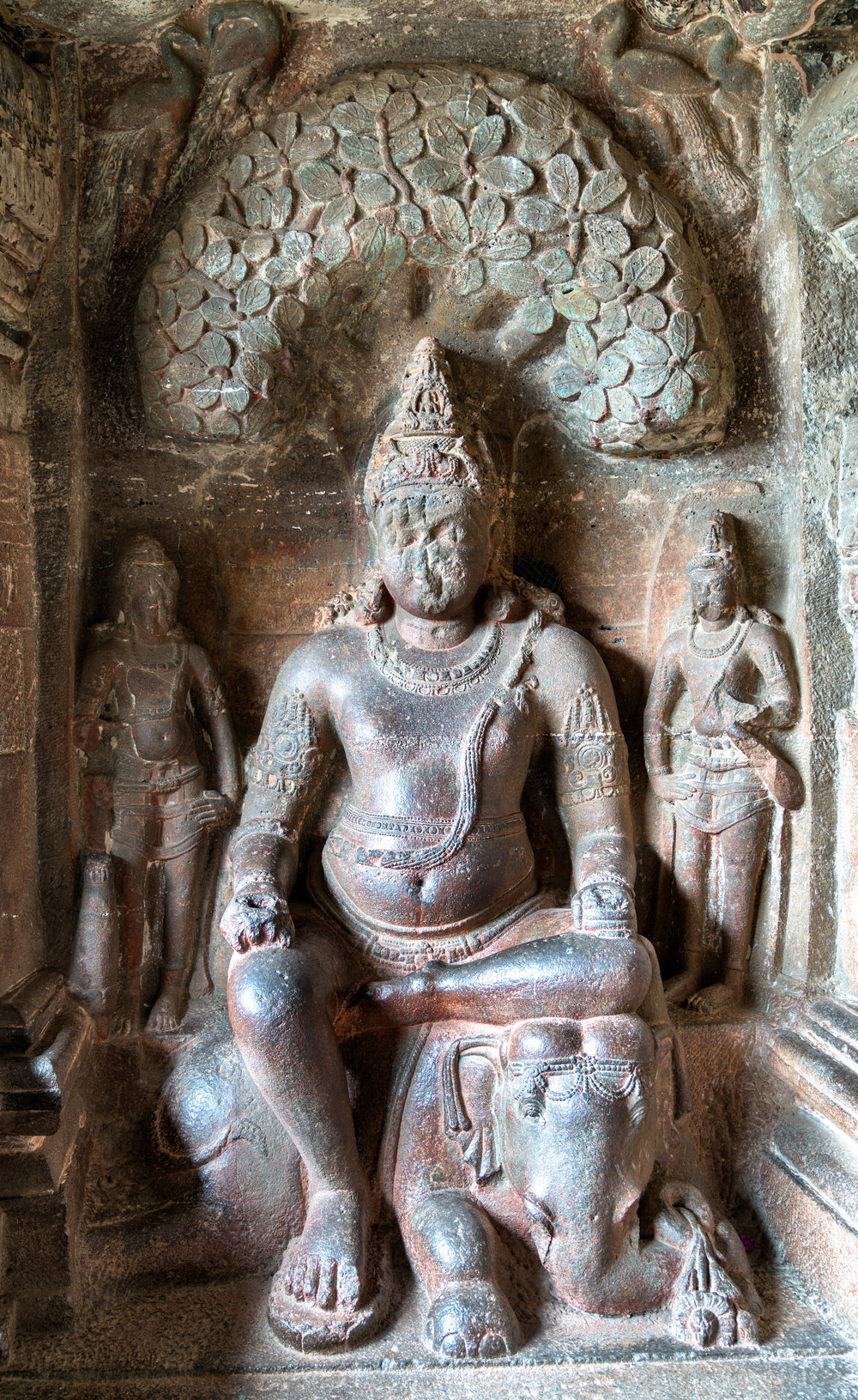 Indra (Vedic king of the gods) - Sambha temple at Ellora Caves, Maharashtra, India