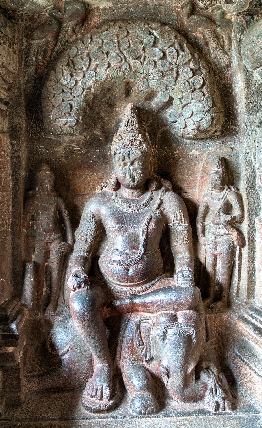 Indra (Vedic king of the gods) - Sambha temple at Ellora Caves, Maharashtra, India
