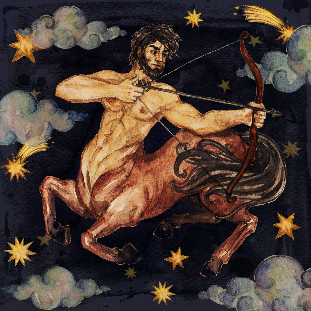 Sagittarius - This constellation represents higher knowledge, judgment and luck. It maps to the center of our Milky Way galaxy and corresponds to the home of the gods.