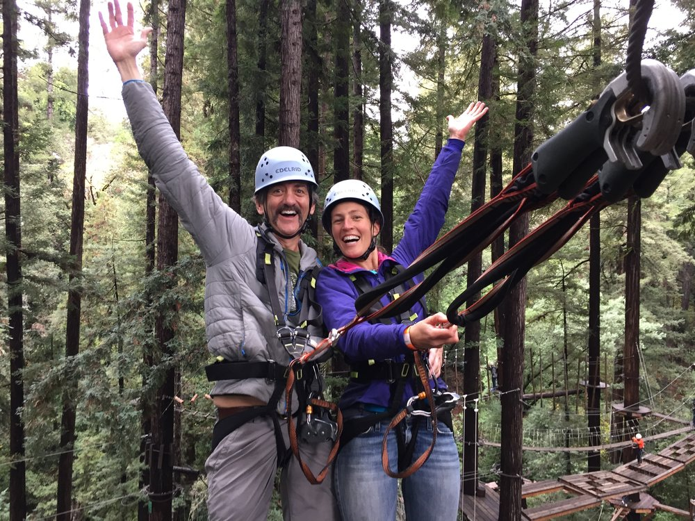 2 Happy Mountain Sea Customers enjoying the Ropes Course!