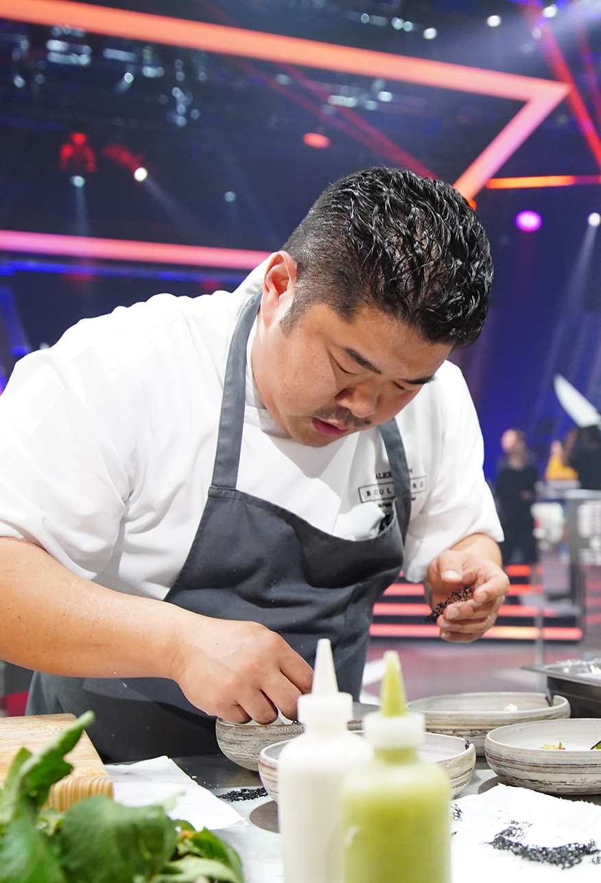 BOULEVARD KITCHEN'S ALEX CHEN CLAIMS VICTORY OVER HUGH ACHESON ON IRON CHEF CANADA - November 8, 2018Boulevard Kitchen & Oyster Bar Chef Alex Chen became the first challenger to claim victory on the inaugural season of Iron Chef Canada after defeating Iron Chef Hugh Acheson on the fourth episode of the Food Network Canada TV show, which aired yesterday evening.Chen had one hour to prepare five dishes comprising a showcase ingredient of tomatoes and earned a final score of 71 to Acheson's 66 from the panel of three celebrity judges. The panel ascribed points to each chef based on first dish, taste, plating, originality and the incorporation of a surprise 'culinary curveball' of Berbere spice that was announced at the midway point of the show.Chen's battle against Hugh Acheson can be viewed in its entirety online.