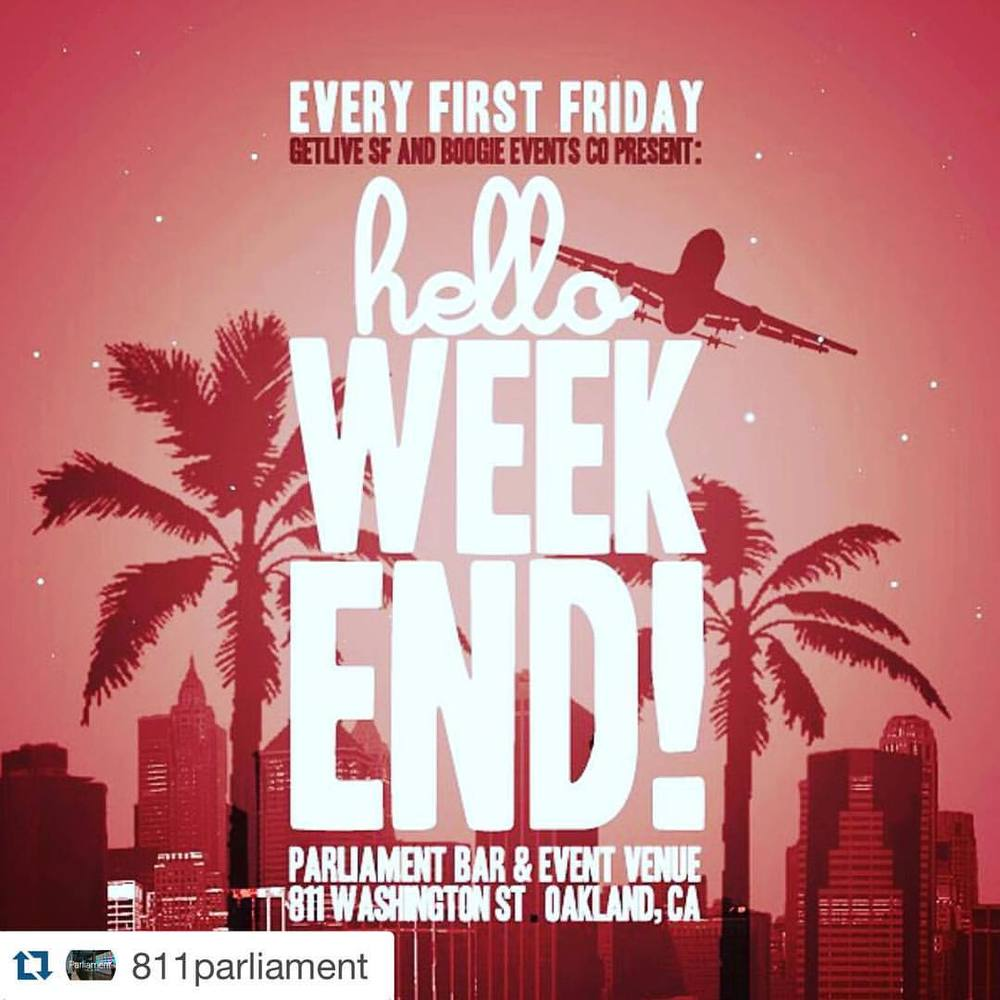 #Repost @811parliament  ・・・  Weekend Plans Already!  helloWeekend 10pm  Djs Prince Aries & Boogie Brown  Special Guest Set by The Les & Jè Medina  Bottle Service Contact Mel @ 510-730-6104  #1stFridays #811Parliament #OaklandNightlife