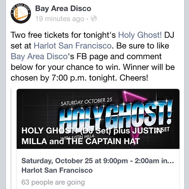 Two free tickets for tonight's @holyghostnyc show at Harlot! Be sure to like our FB page and comment for your chance to win. Cheers! #bayareadisco #sf #oakland #djset #holyghost! #brooklyn #nyc #bktothebay #nycxsf #goodvibes