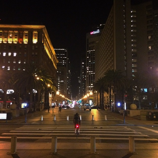 Riding thru the city! #downtown #sf #bayarea #roadbike #bikesf #marketstreet #nightriding #goodnight